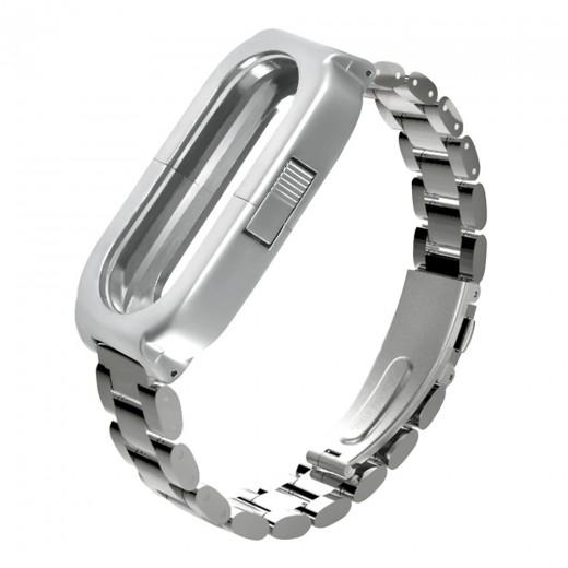Bracelet pour Xiaomi Mi Band 3 en acier, Argent