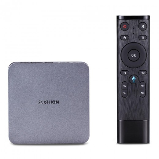 SCISHION AI ONE Tv Box Android 4/32GB with remote controller and vocal commands