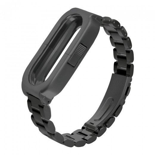 Replaceable Steel Wrist Strap For Xiaomi Mi Band 3 Smart Bracelet - Black