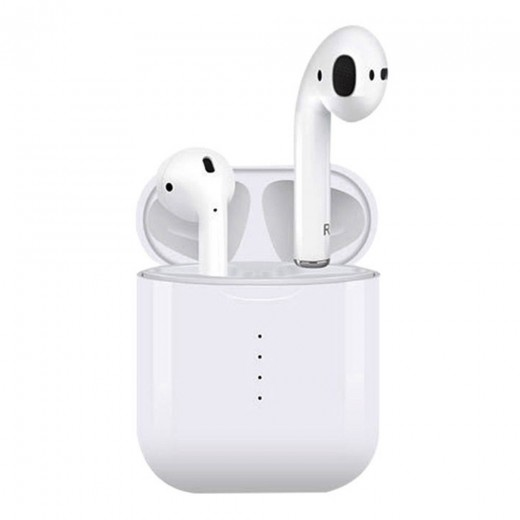 i10 TWS Bluetooth Earphones with wireless Qi charge, White