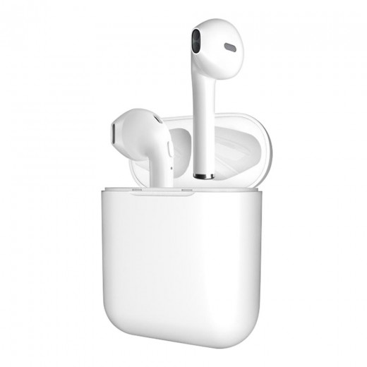i10 TWS Bluetooth Earphones with button, White